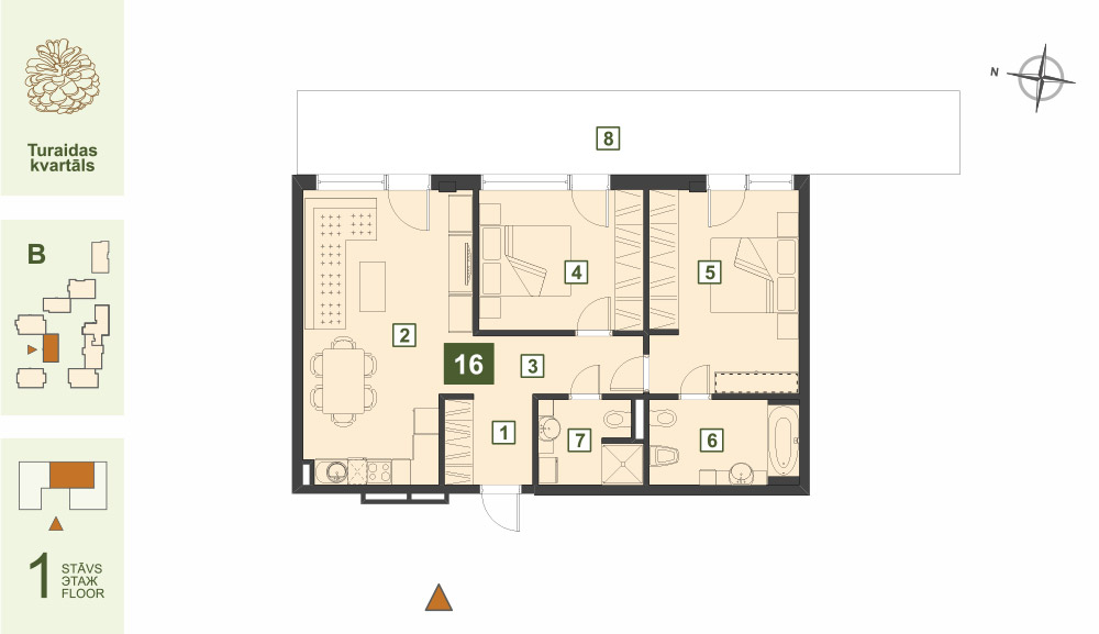 Plan for the Apartment Nr.16, Turaidas street 17, section B, Jurmala