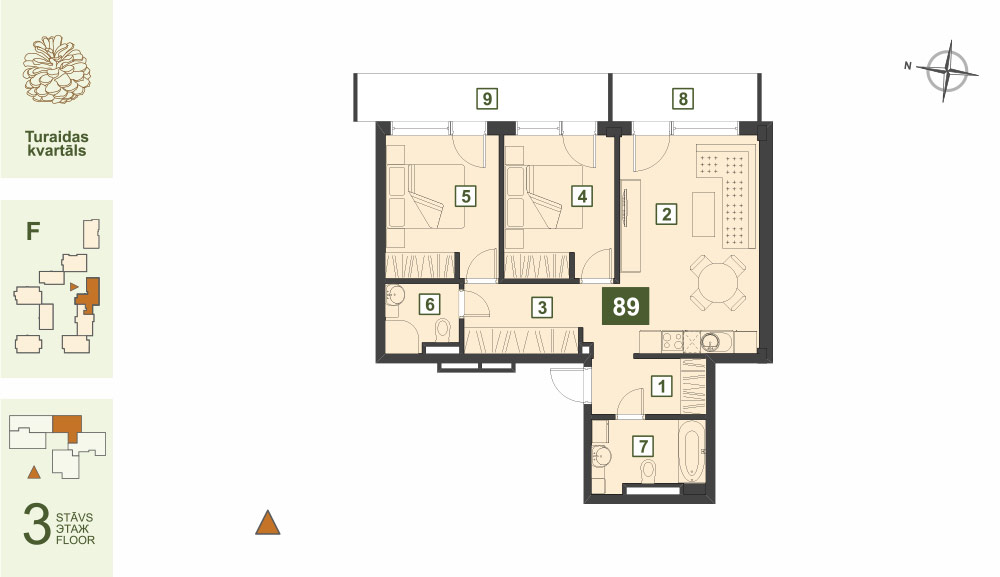 Plan for the Apartment Nr.89, Turaidas street 17, section F, Jurmala