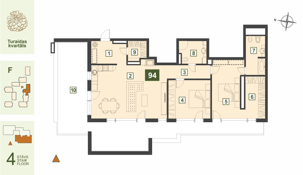 Plan for the Apartment Nr.94, Turaidas street 17, section F, Jurmala