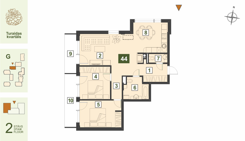 Plan for the Apartment Nr.44, Turaidas street 17, section G, Jurmala