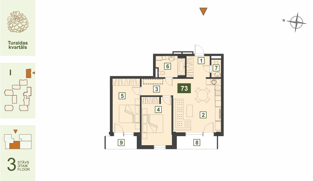 Plan for the Apartment Nr.73, Turaidas street 17, section I, Jurmala